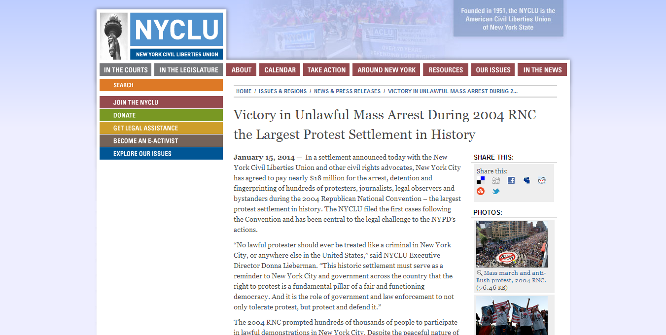 Major Court Victory For Jared & Hundreds Of Others Unlawfully Arrested At The 2004 RNC!